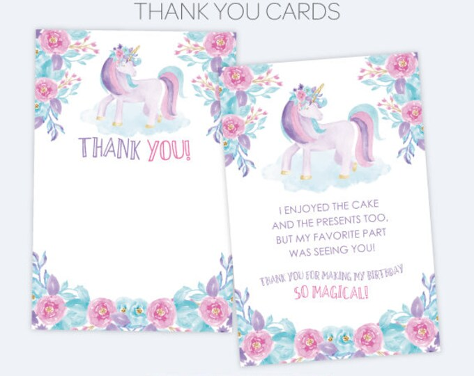 Unicorn Thank You Cards, Floral Birthday Party, Printable Thank You Notes, Magical Birthday party, INSTANT DOWNLOAD