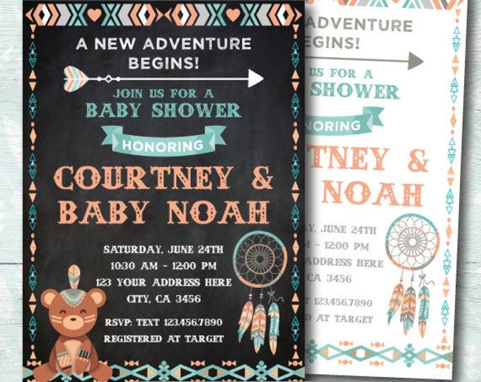 Tribal Baby Shower Invitation, Boho baby shower Invitation, Aztec Baby Shower Invitation, Boys, girls or gender neutral, DIGITAL, 2 options