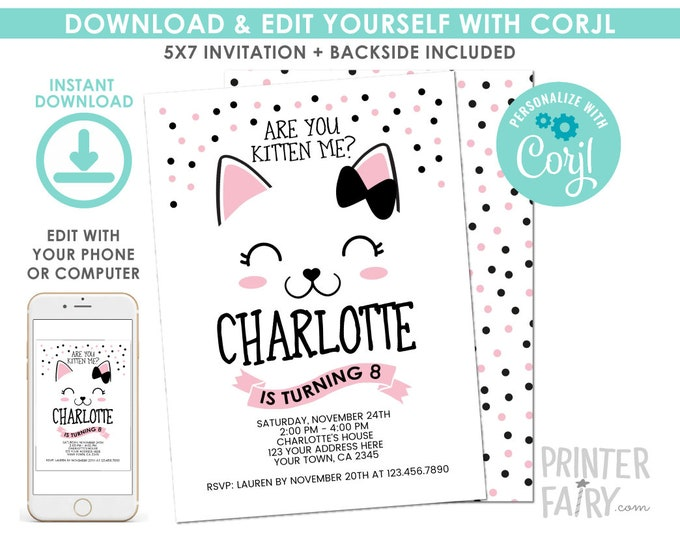 EDITABLE Kitty Cat Birthday Invitation, Pet Adoption Birthday Party, Cat Party, Any Age, EDIT YOURSELF Digital Invite