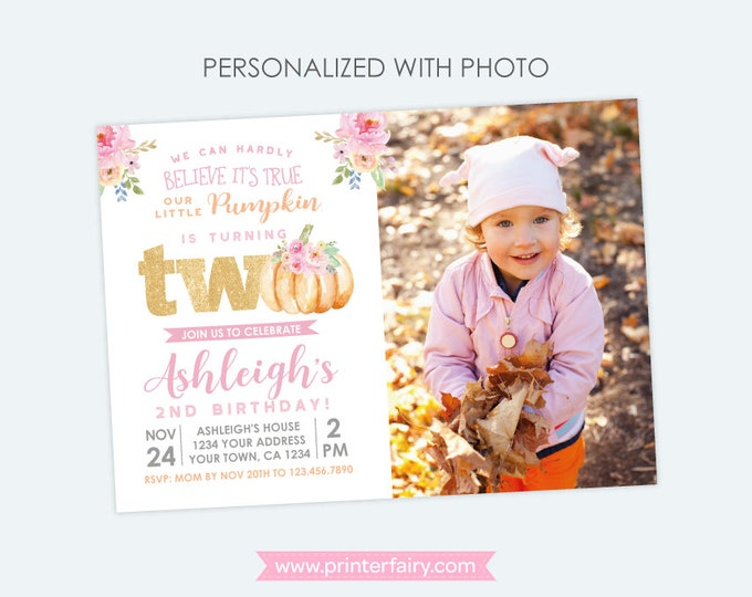 Little Pumpkin 2nd Birthday Invitation with Photo, Fall Birthday Invitation, Floral Birthday Party, Personalized Digital Invite