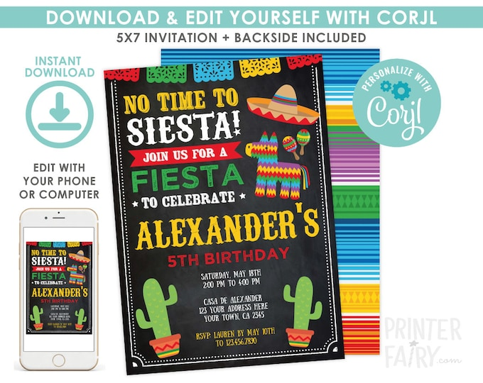 EDITABLE Fiesta Invitation, Fiesta Birthday Invitation, Cinco de Mayo Birthday Party, EDIT YOURSELF Digital Invite