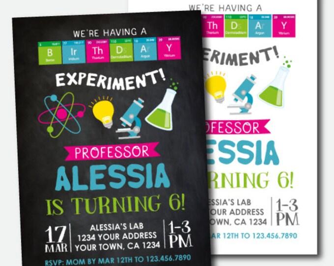 Science Birthday Invitation, Mad Scientist Party, Scientist Birthday Party, Personalized Digital Invitation, 2 options
