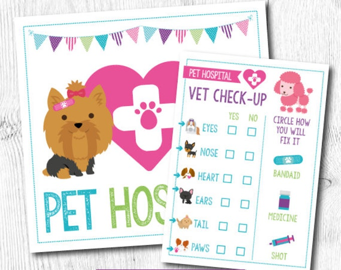 Pet Adoption Party, Pet Hospital, Puppy adoption party, Digital files, 2 prints, Instant download