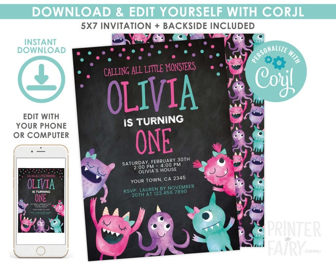 Little Monster Invitation, EDITABLE, Monster Birthday Party, Any age, Little Monster, EDIT YOURSELF Digital Invite, Instant Download