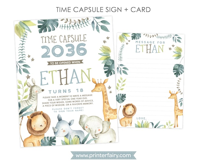 Jungle Time Capsule, Personalized sign + card, Safari 1st Birthday, Personalized Printable Time Capsule, DIGITAL