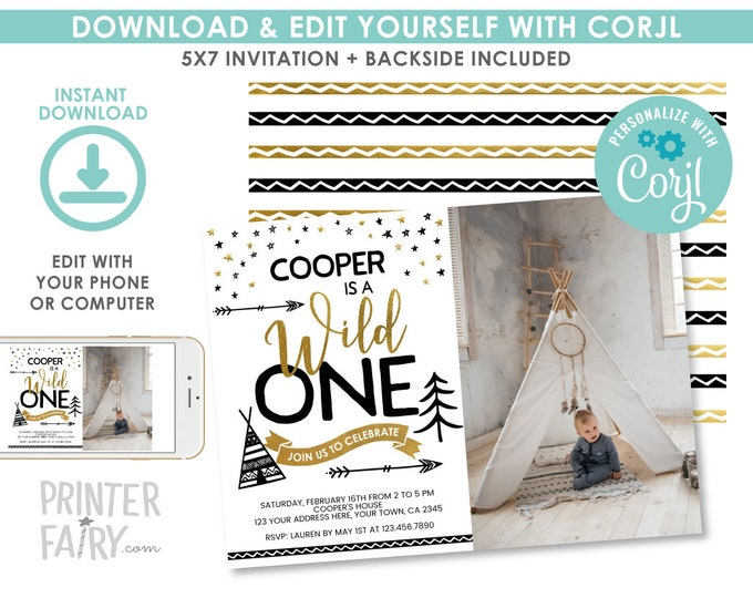 EDITABLE Wild One First Birthday Invitation with Photo, Wild One Party, 1st Birthday Invitation, EDIT YOURSELF Digital Invite