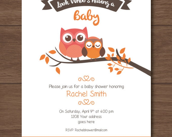 Owl Baby shower invitation, owl invites, neutral theme