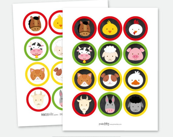 Farm Animals Toppers, Farm Birthday Party, Barnyard Birthday, Printable files, DIGITAL, Instant Download
