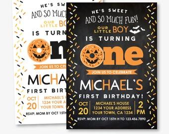 Halloween Donut 1st Birthday Invitation, Sprinkles Birthday Invitation, 1st Birthday Invite, Personalized Invitation, 2 options