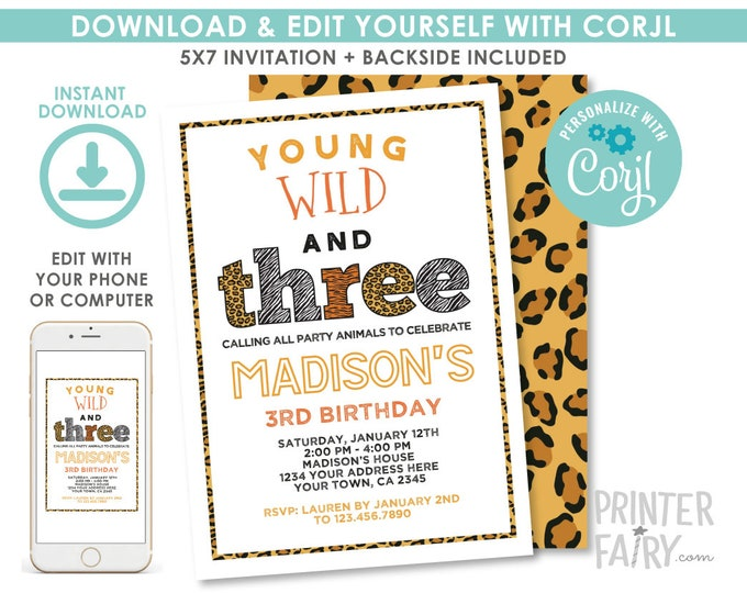 Wild and Three Birthday Invitation, EDITABLE Safari Invitation, Animal Print Birthday Party, Jungle Invitation, EDIT YOURSELF Digital Invite