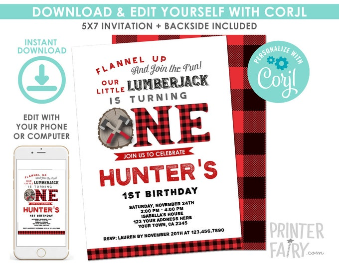 EDITABLE Lumberjack 1st Birthday Invitation, Forest Birthday Party, Woodland, Winter Invitation, EDIT YOURSELF with Corjl