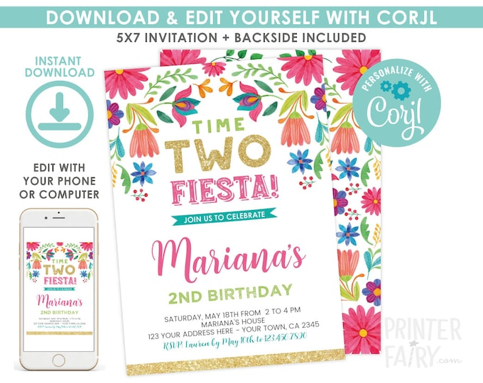 Fiesta Invitation, Fiesta 2nd Birthday Invitation, Cinco de Mayo, Time TWO fiesta, Floral Fiesta Invite, EDIT YOURSELF Digital Invite