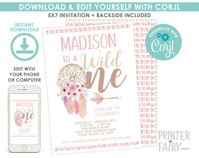 Wild One Invitation, EDITABLE Dreamcatcher Birthday Party, First Birthday Invitation, Tribal Party, EDIT YOURSELF with Corjl