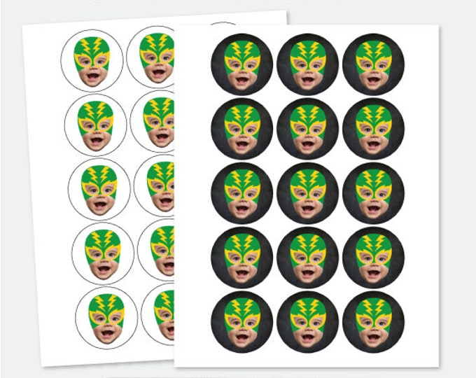Luchador Personalized Toppers with Photo, Fiesta 1st Birthday, Baby Muchacho Birthday Party, Custom Toppers, DIGITAL Personalized item