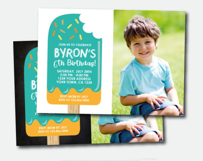 Popsicle Birthday Invitation with photo, Ice Cream Party, Popsicle Birthday Party, Here's the scoop, Personalized Invitation, 2 options