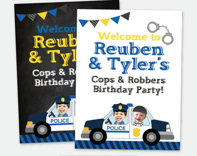 Cops and Robbers Welcome Sign with Photo, 1 or 2 Children, Police Birthday Party, Personalized Digital Printable Sign