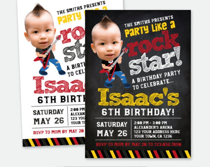 Rock Star Invitation with Picture, Rock Invitations, Rockstar Birthday Party, Personalized Digital Invitation, 2 options