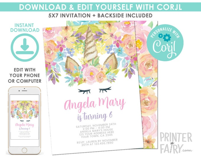 EDITABLE Unicorn Floral Birthday Invitation, Magical Birthday Party, Unicorn Invite, EDIT YOURSELF with Corjl