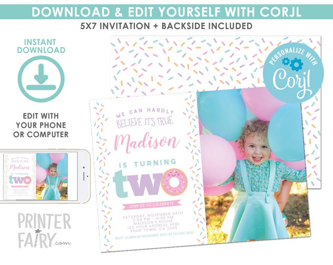 EDITABLE Donut 2nd Birthday Invitation with Photo, Sprinkles 2nd Birthday Party, Donut Party, Second Birthday EDIT YOURSELF Digital Invite