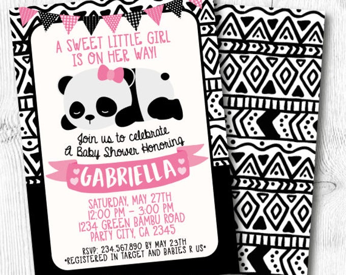 Panda Baby Shower Invitation, Panda Invitation, Modern Baby Shower Invitation, Black and white baby shower, Printable Invitation