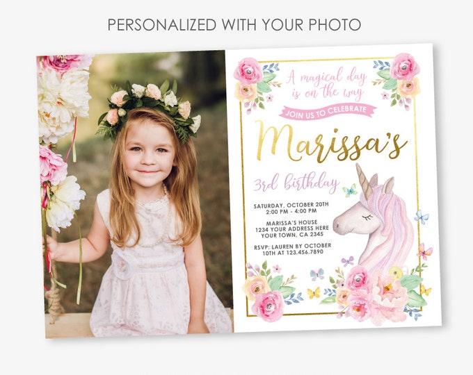 Unicorn Birthday Invitation with Photo, Magical Birthday Party, Floral Unicorn Invitation, Girl Invitation Personalized DIGITAL Invitation