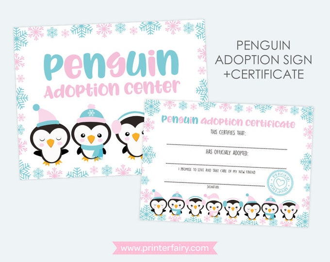 Penguin Birthday Party, Penguin Adoption Center, Winter Birthday Party, INSTANT DOWNLOAD, Digital Files
