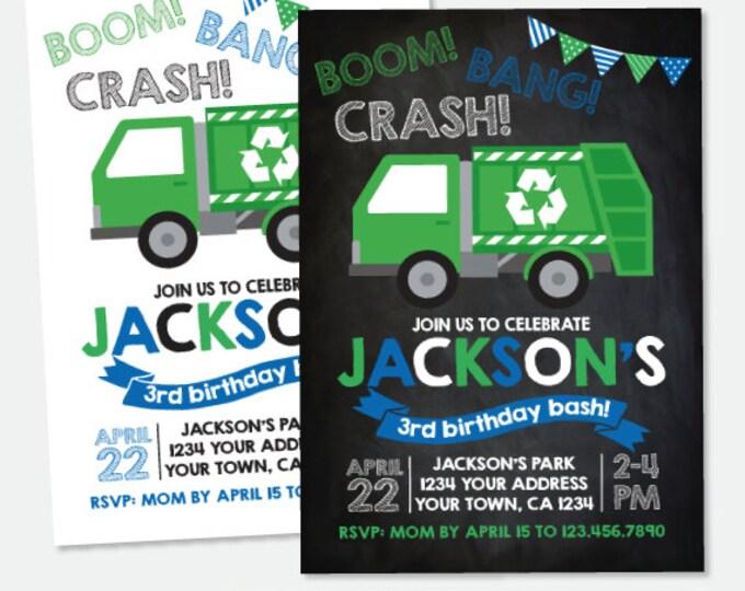 Garbage Truck Invitation, Trash Truck Birthday Party, Recycle Birthday Invitation, Personalized Digital Invitation, 2 Options