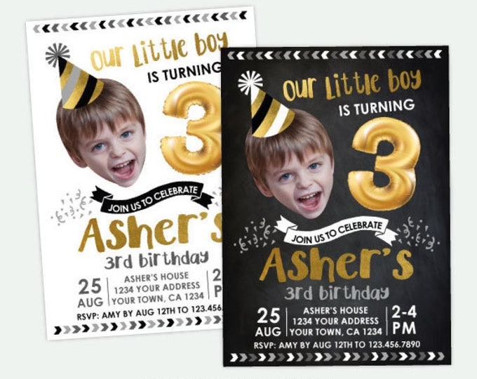 Boy Birthday Invitation with Photo, Balloon Birthday Invitation, Funny Birthday Invite, Any Age, Personalized DIGITAL Invitation, 2 Options