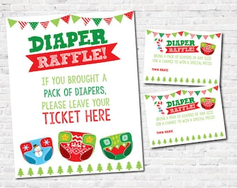 Ugly Sweater Baby Shower, Diaper Raffle Tickets, Diaper Raffle Sign, INSTANT DOWNLOAD