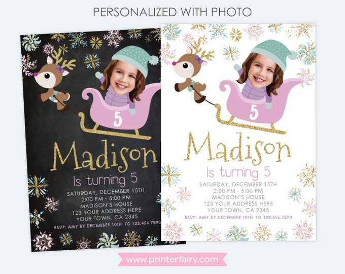 Winter Wonderland Birthday Invitation with photo, Snowflake Invitation, Sleigh and Reindeer, Personalized DIGITAL Invitations