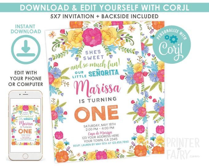 EDITABLE Fiesta Invitation, Fiesta 1st Birthday Invitation, Cinco de Mayo First Birthday, Little Senorita, EDIT YOURSELF Digital Invite