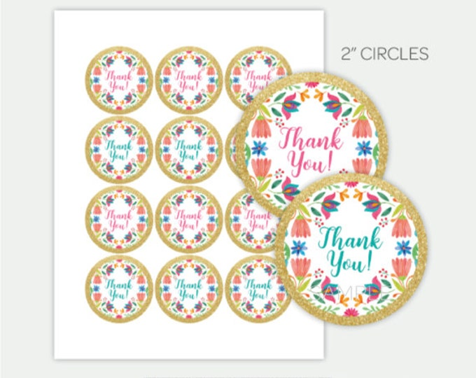 """Fiesta Toppers, Fiesta Thank You Tags, 2"""" Circles, 2 styles included, Printable files, DIGITAL, Instant Download"""