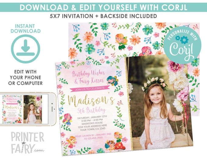 EDITABLE Fairy Birthday Invitation with Photo, Floral, Fairy Birthday Party, Fairies Invitation, EDIT YOURSELF Digital Invite