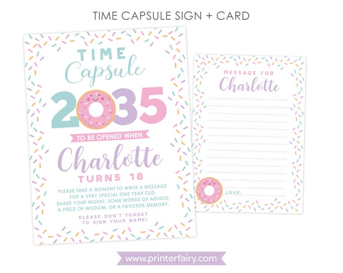 Donut First Birthday Time Capsule, Personalized sign + card DIGITAL