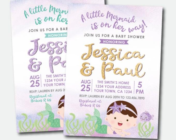 Mermaid Baby Shower Invitation, Little Mermaid Invitation, Under the Sea Baby Shower, Personalized Digital Invitation, 2 Options