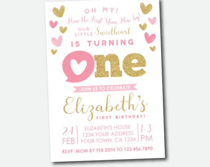 Valentine's Birthday Invitation, Little Sweetheart First Birthday Invitation, Personalized DIGITAL Invites