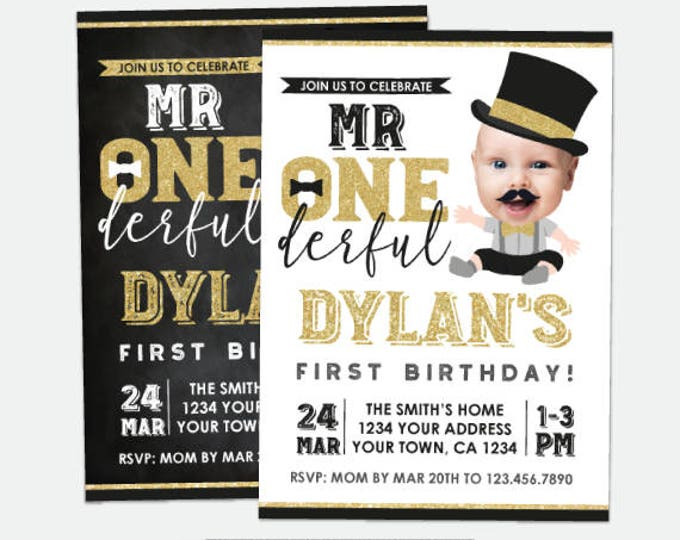 Mr Onederful First Birthday Invitation with Photo, Boys 1st Birthday, Personalized Invitations, 2 options