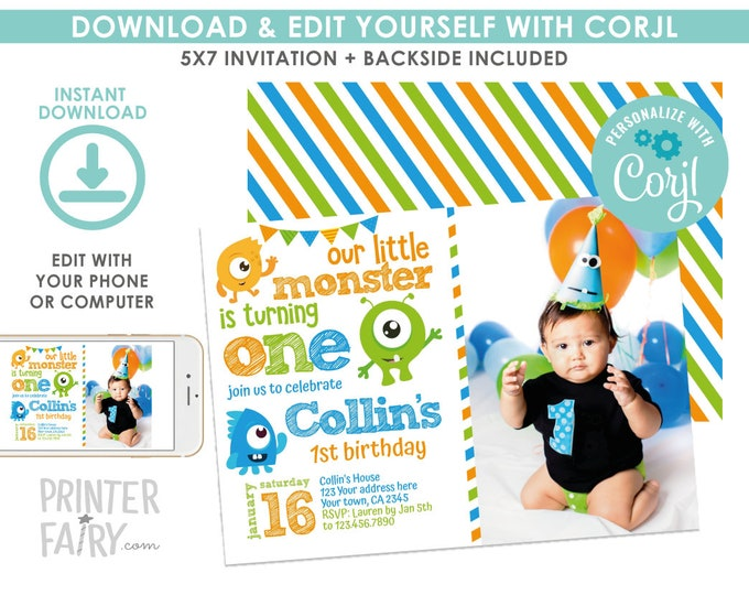 Little Monster Invitation with Photo, Monster 1st Birthday Party, Any age, EDIT YOURSELF Digital Invitation, Instant Download