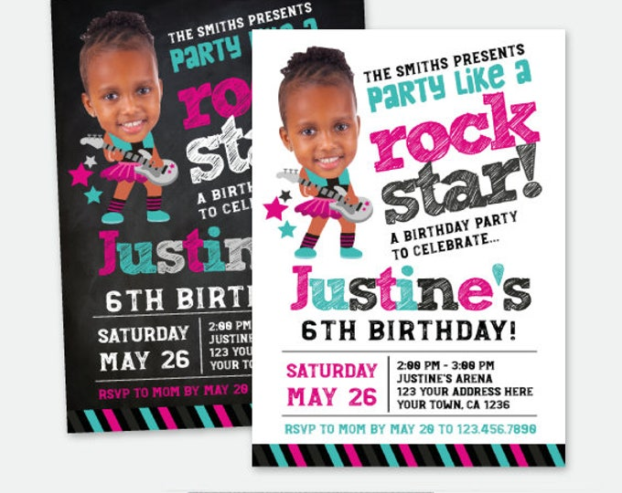 Rock Star Girl Invitation with Picture, Rock Invitations, Rockstar Birthday Party, Personalized Digital Invitation, 2 options