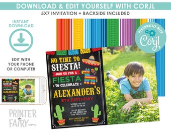 EDITABLE Fiesta Invitation with Photo, Fiesta Birthday Invitation, Cinco de Mayo Birthday Party, EDIT YOURSELF Digital Invite