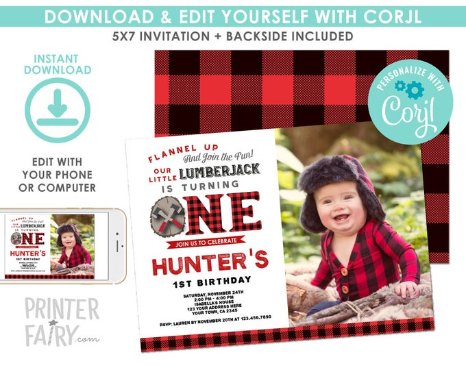 EDITABLE Lumberjack 1st Birthday Invitation with Photo, Forest Birthday Party, Woodland, Winter Invitation, EDIT YOURSELF with Corjl