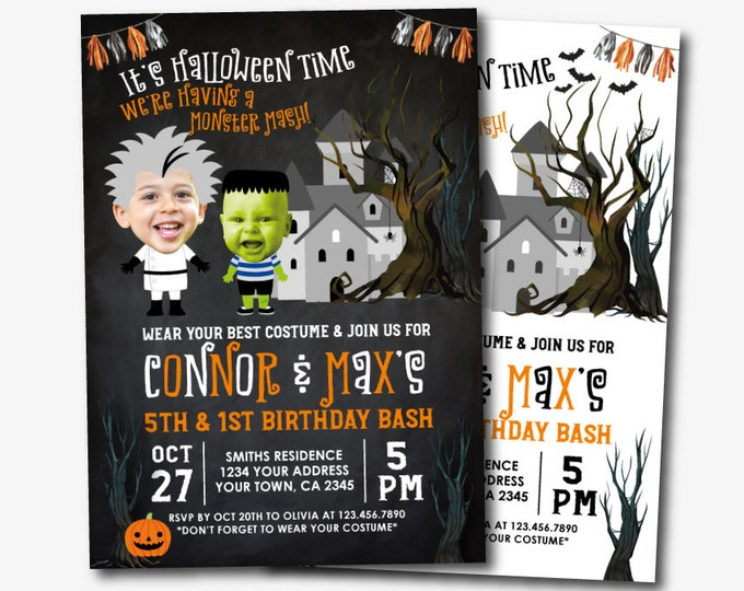 Halloween Invitation with Photo, Monster Invitation, Costume Party Invitation, Personalized Printable DIGITAL Invite, 2 Options