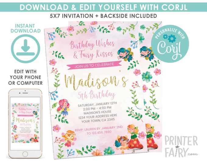 EDITABLE Fairy Birthday Invitation, Floral, Fairy Birthday Party, Fairies Invitation, EDIT YOURSELF Digital Invite