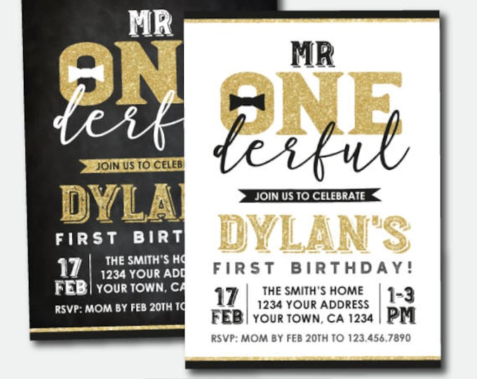 Mr Onederful First Birthday Invitation, Boys 1st Birthday Party, Personalized Invitations, 2 options