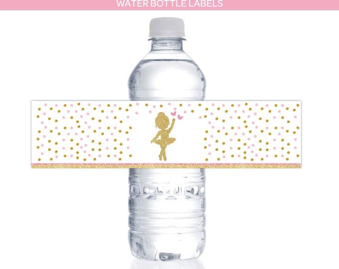 Ballerina Printable Water Bottle Labels, Ballerina Printable Decorations, DIGITAL, INSTANT DOWNLOAD