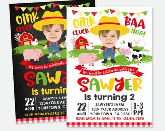 Farm Birthday Invitation with Picture, Barnyard Birthday Invitation, Farm Animals Invitation, Personalized Digital Invitation, 2 options