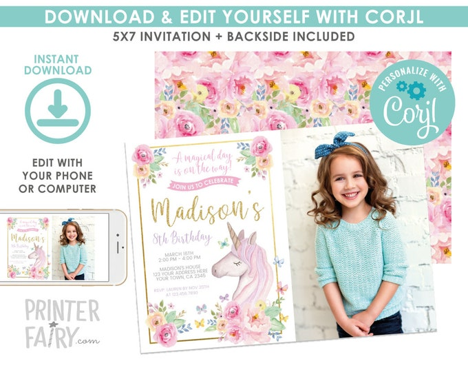 EDITABLE Unicorn Birthday Invitation with Photo, Magical Birthday Party, Floral Unicorn Invitation, EDIT YOURSELF Digital Invite