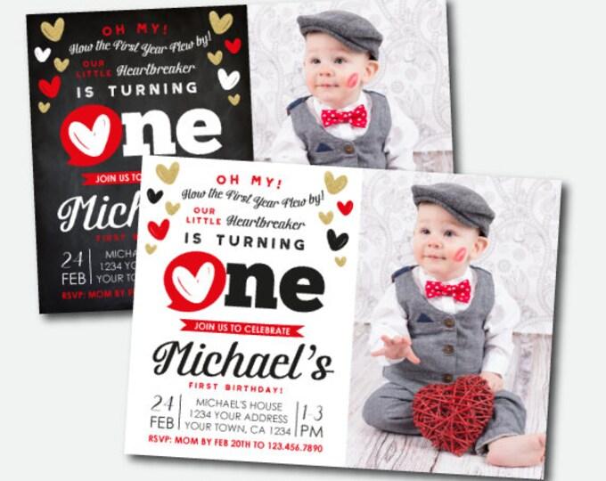 Little Heartbreaker First Birthday Invitation with photo, Valentines First Birthday Invitation, Personalized DIGITAL Invites, 2 options