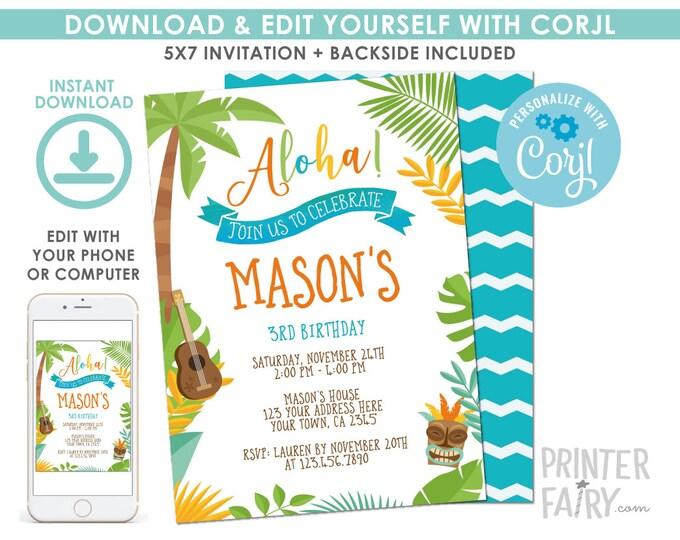 EDITABLE Luau Birthday Invitation, Beach Birthday Party, Summer Party, EDIT YOURSELF Digital Invite