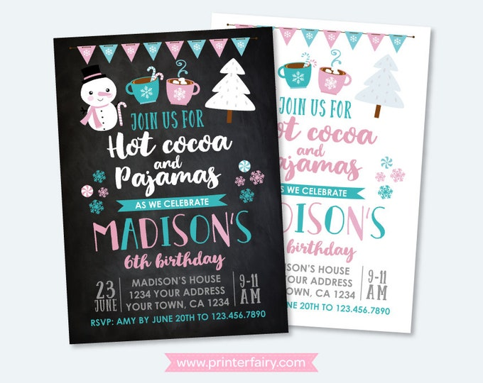 Hot Cocoa Invitation, Winter Birthday Party, Pajama Party Invitation, Slumber Party Invitation, Christmas, DIGITAL Personalized, 2 options